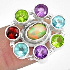9.47cts natural multi color ethiopian opal topaz 925 silver ring size 6.5 p78055