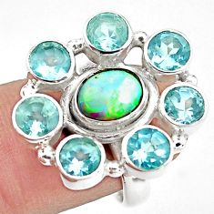 8.71cts natural multi color ethiopian opal topaz 925 silver ring size 6.5 p78066