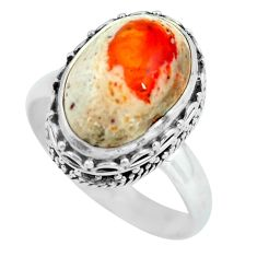 6.58cts natural multi color mexican fire opal 925 silver ring size 9 d32244
