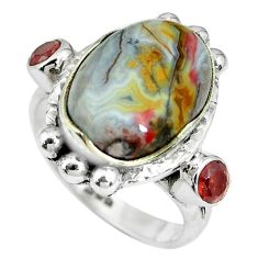 7.58cts natural multi color mexican laguna lace agate silver ring size 7 p69909