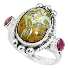 7.58cts natural multi color mexican laguna lace agate silver ring size 7 p69915