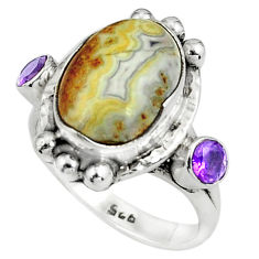 8.27cts natural multi color mexican laguna lace agate silver ring size 8 p79008