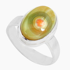 6.31cts natural multi color ocean sea jasper silver solitaire ring size 8 p71459