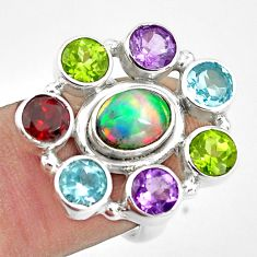 8.96cts natural multicolor ethiopian opal amethyst 925 silver ring size 6 p78023