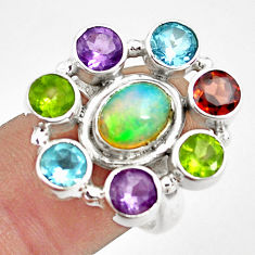 9.23cts natural multicolor ethiopian opal amethyst 925 silver ring size 8 p78025