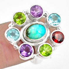 9.23cts natural multicolor ethiopian opal amethyst 925 silver ring size 8 p78028