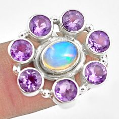 8.71cts natural multicolor ethiopian opal amethyst 925 silver ring size 6 p78029