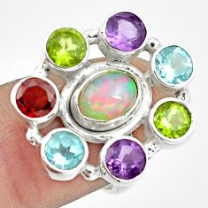 8.96cts natural multicolor ethiopian opal amethyst 925 silver ring size 6 p78045