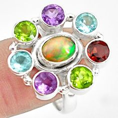9.47cts natural multicolor ethiopian opal amethyst 925 silver ring size 9 p78062