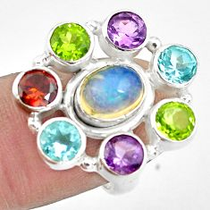 8.98cts natural multicolor ethiopian opal amethyst 925 silver ring size 6 p78070