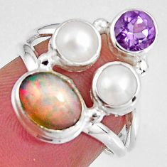 5.16cts natural multicolor ethiopian opal amethyst 925 silver ring size 6 p90781