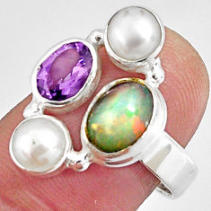 6.55cts natural multicolor ethiopian opal amethyst 925 silver ring size 8 p90782