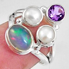 6.10cts natural multicolor ethiopian opal amethyst 925 silver ring size 6 p90786