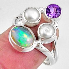 6.04cts natural multicolor ethiopian opal amethyst 925 silver ring size 7 p90795