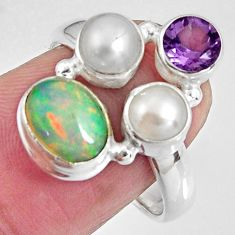 5.87cts natural multicolor ethiopian opal amethyst 925 silver ring size 8 p90799