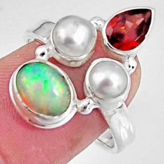 6.54cts natural multicolor ethiopian opal garnet 925 silver ring size 8 p90785