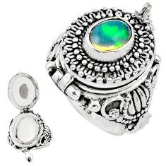 3.44cts natural multicolor ethiopian opal silver poison box ring size 8.5 p75521