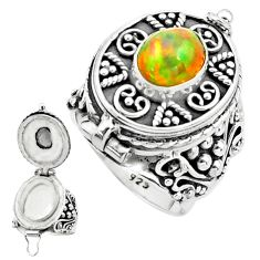 3.44cts natural multicolor ethiopian opal silver poison box ring size 7 p75535