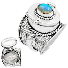 1.94cts natural multicolor ethiopian opal silver poison box ring size 8 p75538