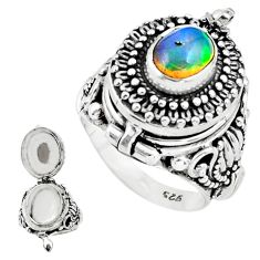 3.51cts natural multicolor ethiopian opal silver poison box ring size 8 p75542