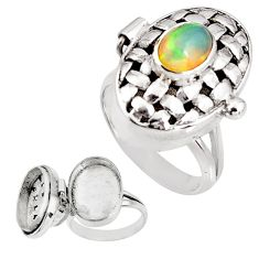 1.94cts natural multicolor ethiopian opal silver poison box ring size 7.5 p92854