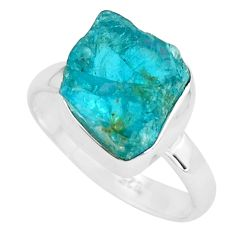 6.82cts natural neon blue apatite rough 925 silver solitaire ring size 8 p68912
