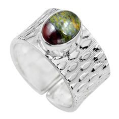 Natural ocean sea jasper 925 silver adjustable solitaire ring size 9.5 p61600