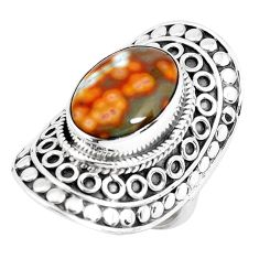 6.32cts natural ocean sea jasper 925 silver solitaire ring size 5.5 d31374