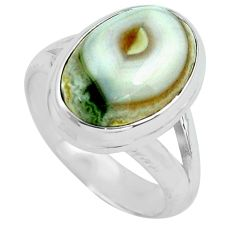 6.31cts natural ocean sea jasper 925 silver solitaire ring size 6.5 p68283