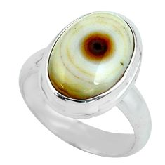 6.04cts natural ocean sea jasper 925 silver solitaire ring size 6 p68285