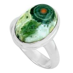 6.31cts natural ocean sea jasper 925 silver solitaire ring size 6 p68287