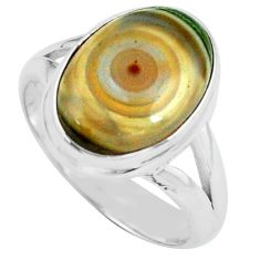 6.04cts natural ocean sea jasper 925 silver solitaire ring size 7 p68288