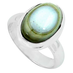 6.32cts natural ocean sea jasper 925 silver solitaire ring size 7 p68297