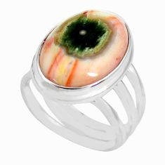 13.36cts natural ocean sea jasper 925 silver solitaire ring size 7 p71449