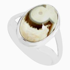 6.58cts natural ocean sea jasper 925 silver solitaire ring size 7.5 p71450