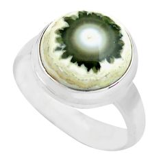 6.84cts natural ocean sea jasper 925 silver solitaire ring size 7 p71456