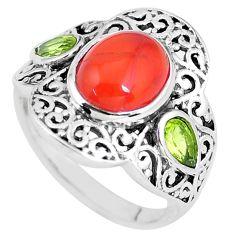 4.93cts natural orange cornelian (carnelian) 925 silver ring size 8 p56062