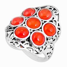 6.09cts natural orange cornelian (carnelian) 925 silver ring size 7 p56082