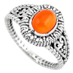 2.22cts natural orange cornelian (carnelian) silver solitaire ring size 9 p55765