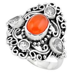 5.51cts natural orange cornelian (carnelian) topaz 925 silver ring size 9 p55941