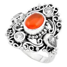5.01cts natural orange cornelian (carnelian) topaz 925 silver ring size 7 p55943