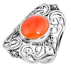 5.53cts natural orange cornelian 925 silver 925 silver ring size 7 d31325
