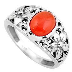 3.52cts natural orange cornelian 925 silver flower solitaire ring size 8 p55828