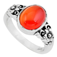 4.21cts natural orange cornelian 925 silver flower solitaire ring size 8 p61104