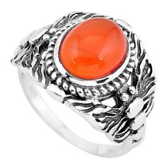 4.21cts natural orange cornelian 925 silver solitaire ring size 9 p55782