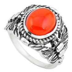 4.02cts natural orange cornelian 925 silver solitaire ring size 7 p55783