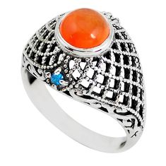 2.69cts natural orange cornelian topaz 925 silver solitaire ring size 8 d31308