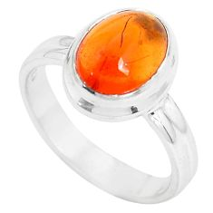 4.22cts natural orange mexican fire opal 925 silver solitaire ring size 6 p31968