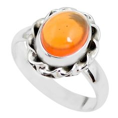 4.43cts natural orange mexican fire opal 925 silver solitaire ring size 7 p41663