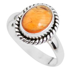 4.42cts natural orange mexican fire opal 925 silver solitaire ring size 8 p41671